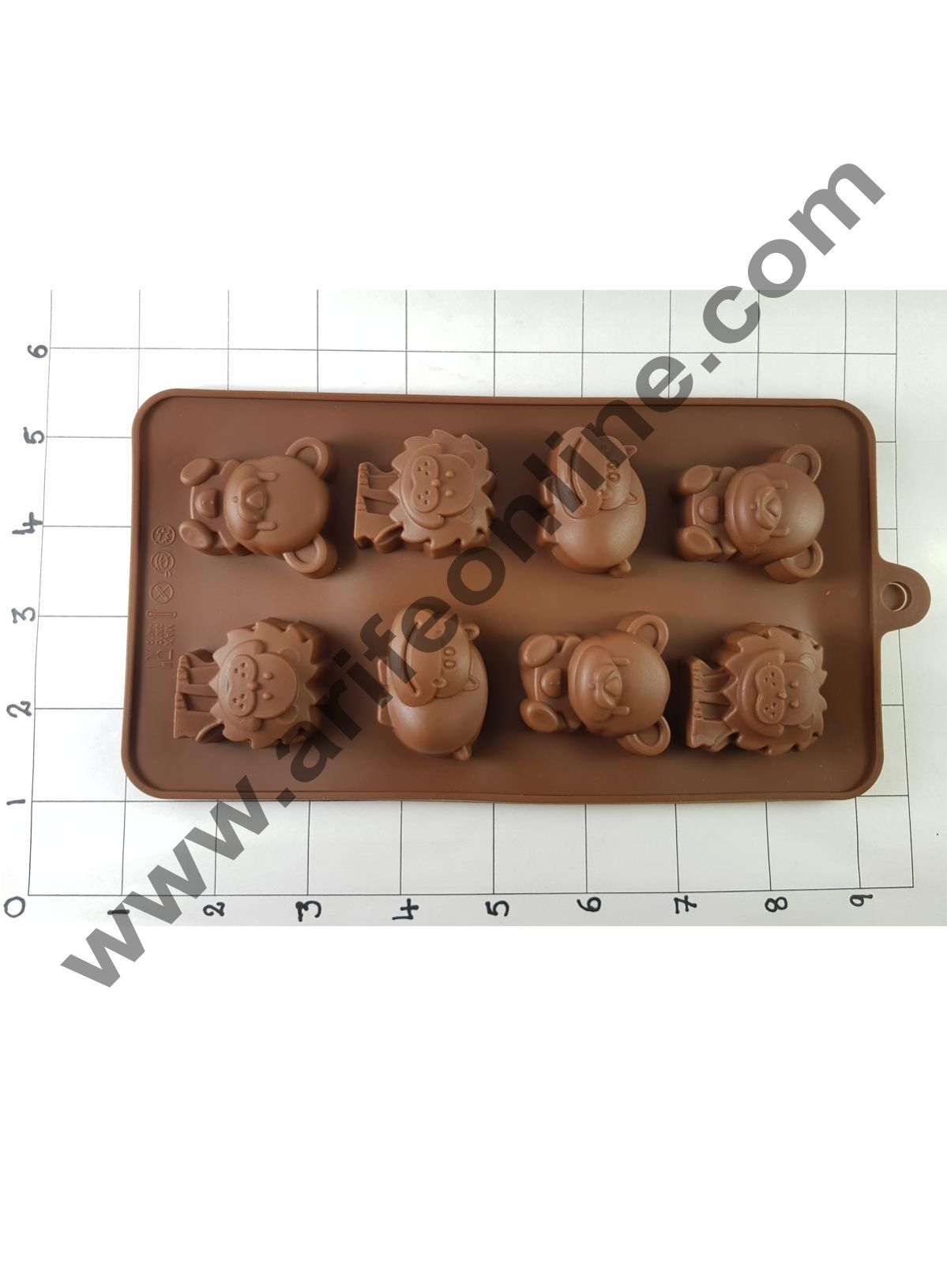 Cake Decor Silicon 8 Cavity Lion Shape Design Brown Chocolate Mould, Ice Mould, Chocolate Decorating Mould