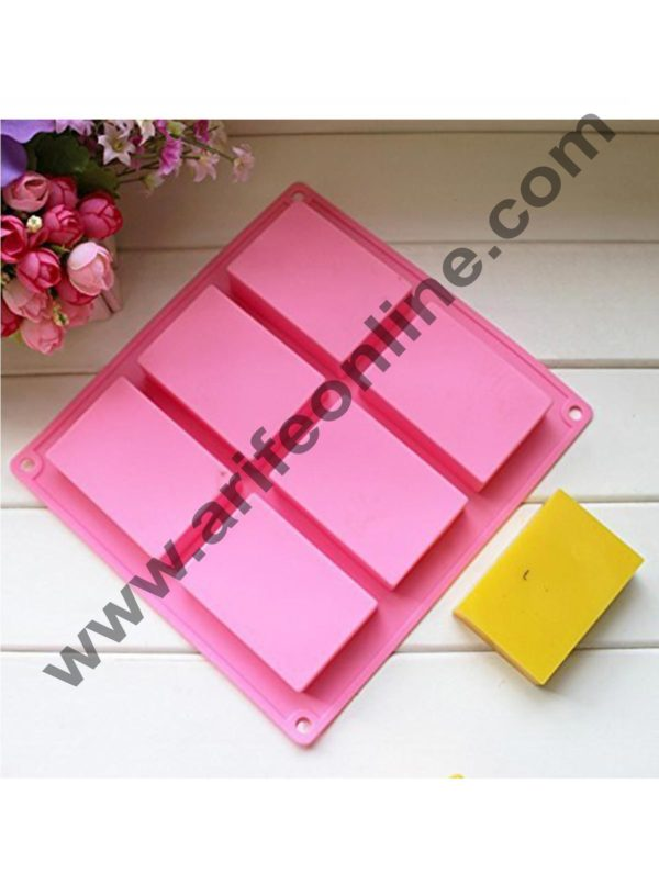 Cake Decor 1PC 6 Handmade Rectangle Silicone Soap Mold Chocolate Cookies Mould Cake Decorating Fondant Molds Pink Color 3