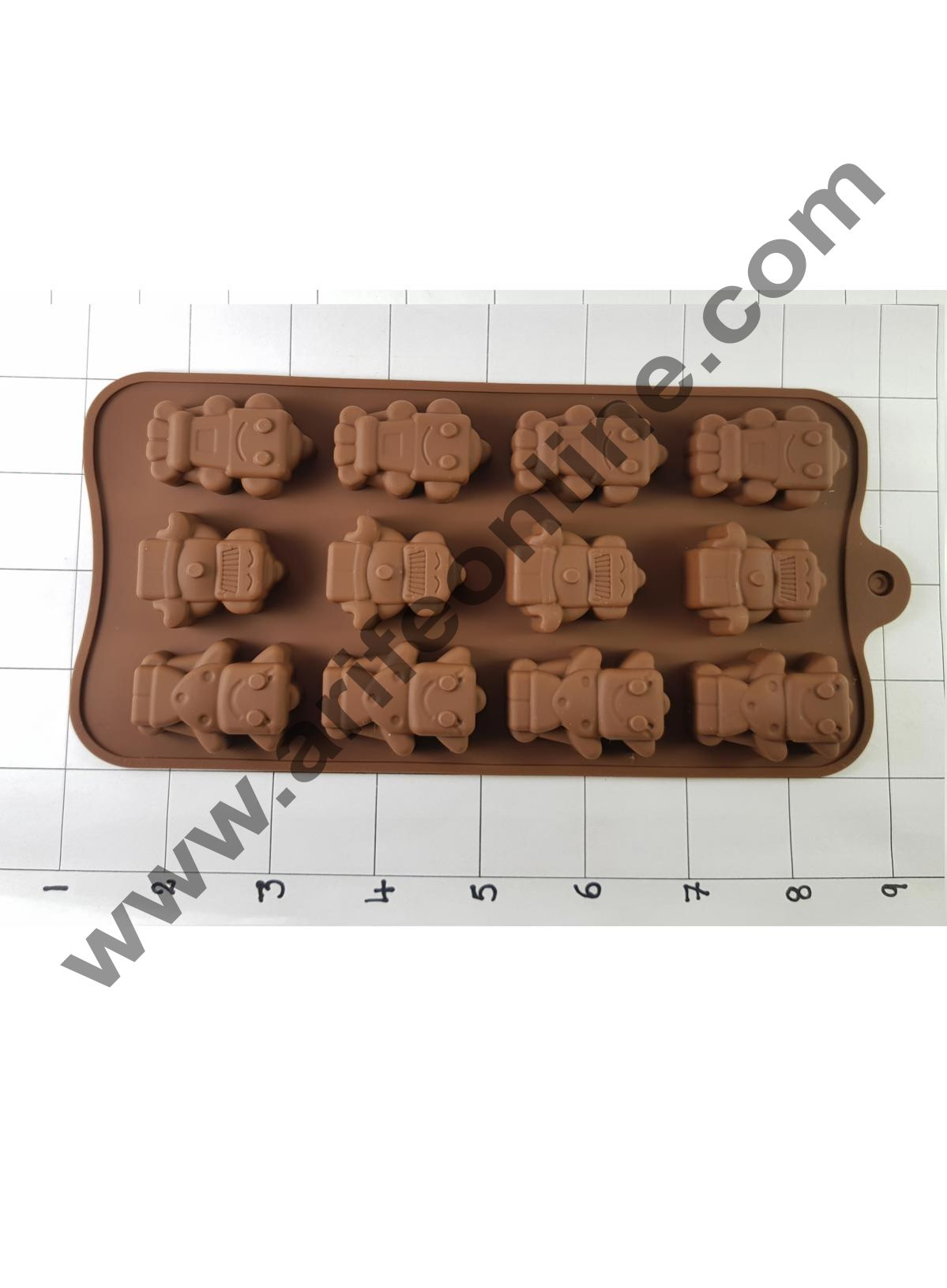 Cake Decor Silicon 15 Cavity Robot Shape Design Brown Chocolate Mould, Ice Mould, Chocolate Decorating Mould