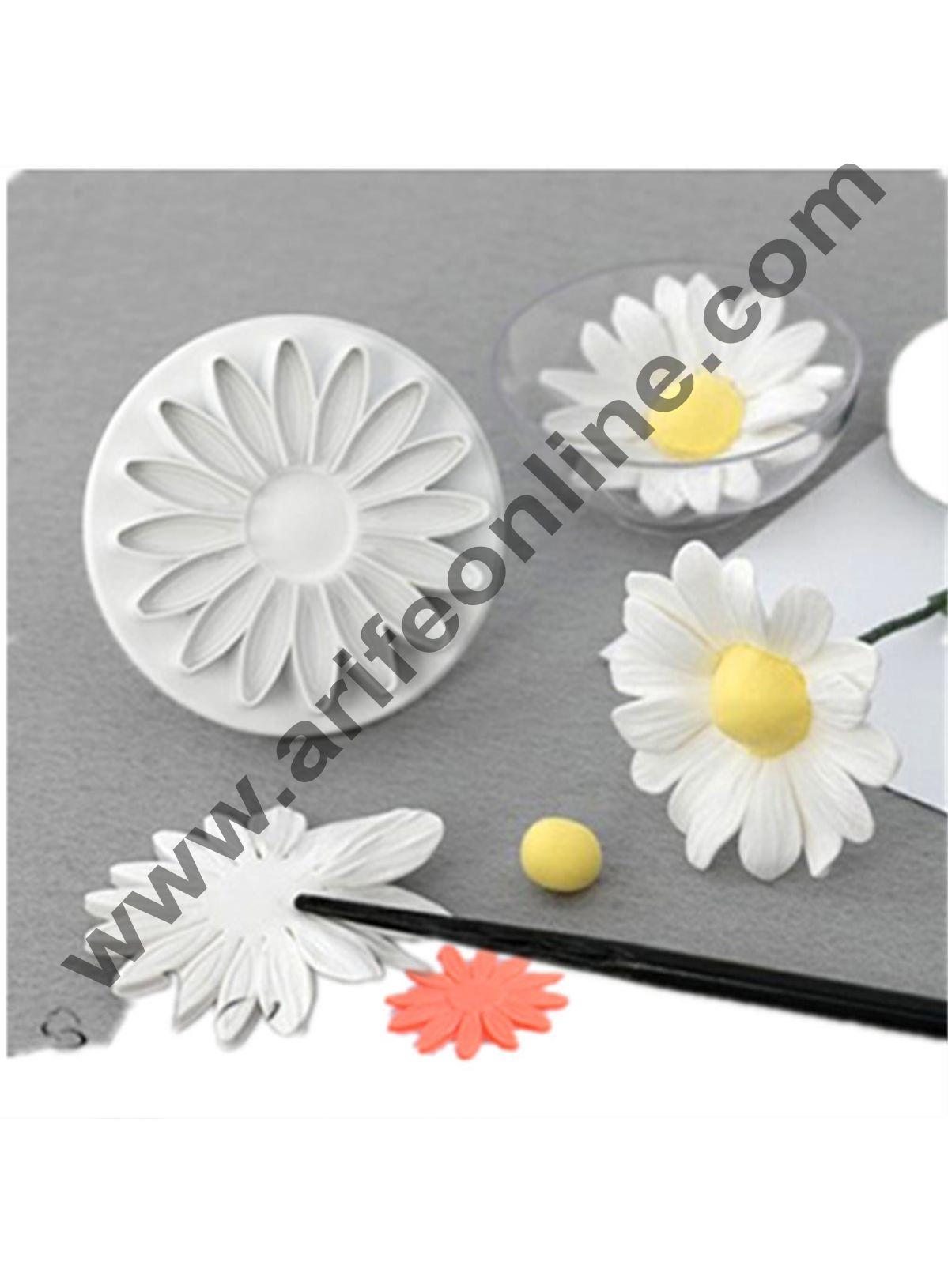 Cake Decor 3pcs Veined Sunflower Shape Daisy Plunger Cutter Tool