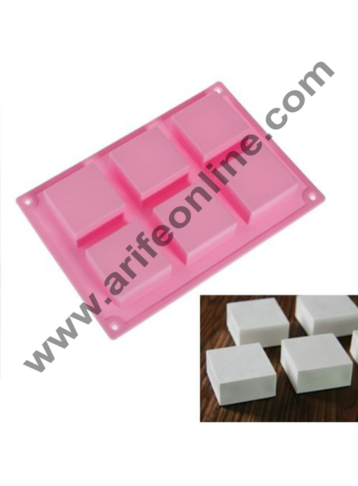 Cake Decor Silicone 6 Cavity Square Soap Mold
