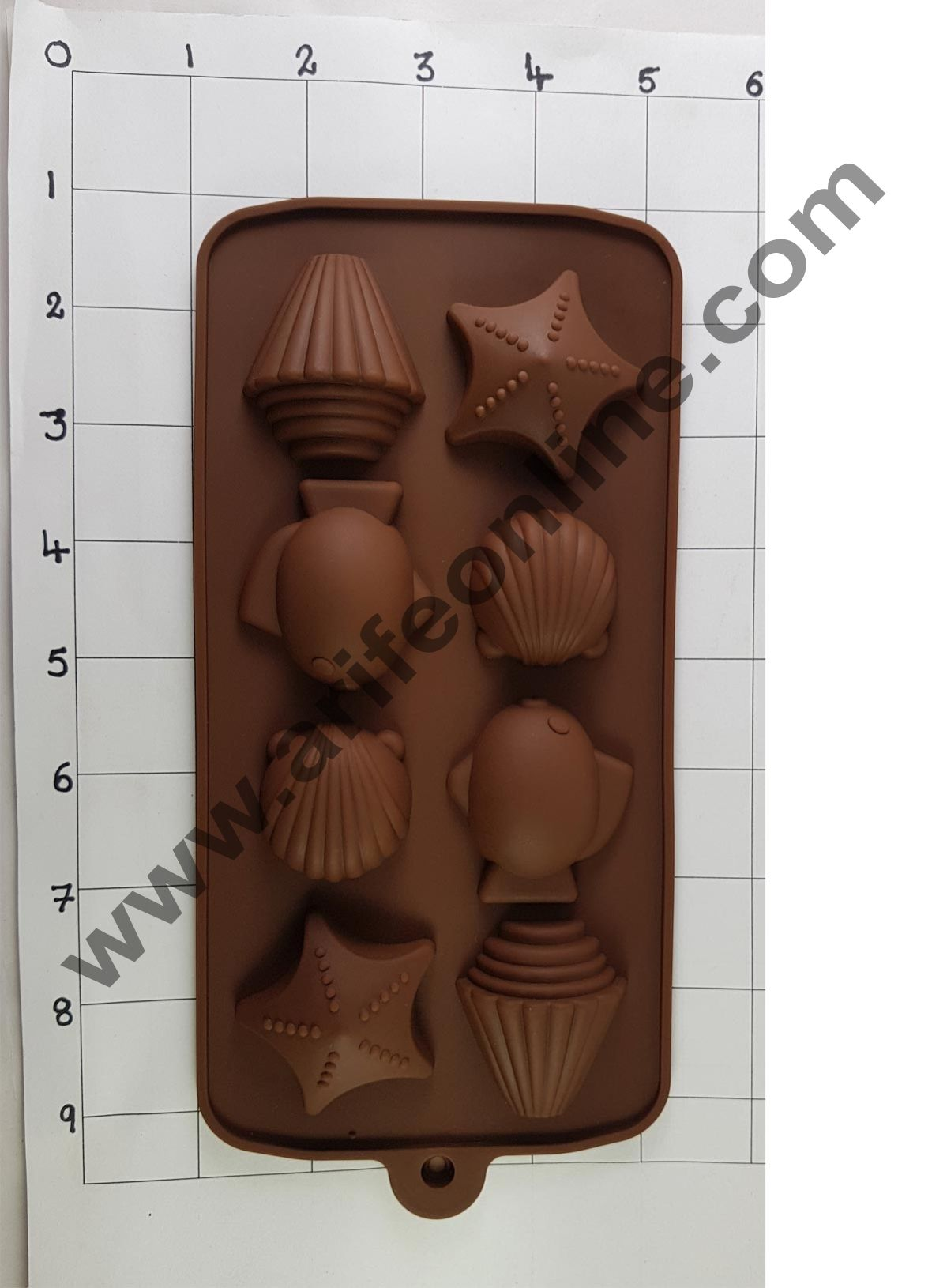 Cake Decor Silicon 8 Cavity Star N Shell Brown Chocolate Mould, Ice Mould, Chocolate Decorating Mould