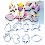 Cake Decor 8 Pc Multiple Unicorns Plastic Fondant Cutter Gumpaste Cutter