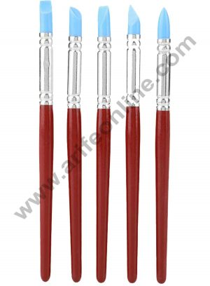 Cake Decor 5Pcs Rubber Tip Paints Silicon Brushes Sculpture Pottery Clay Shaping Carving Tool