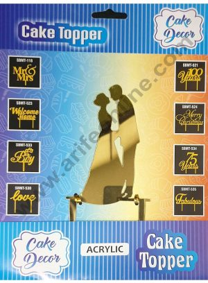 Cake Decor Mirror Shimmer Shining  Acrylic Cake Topper Wedding Couple