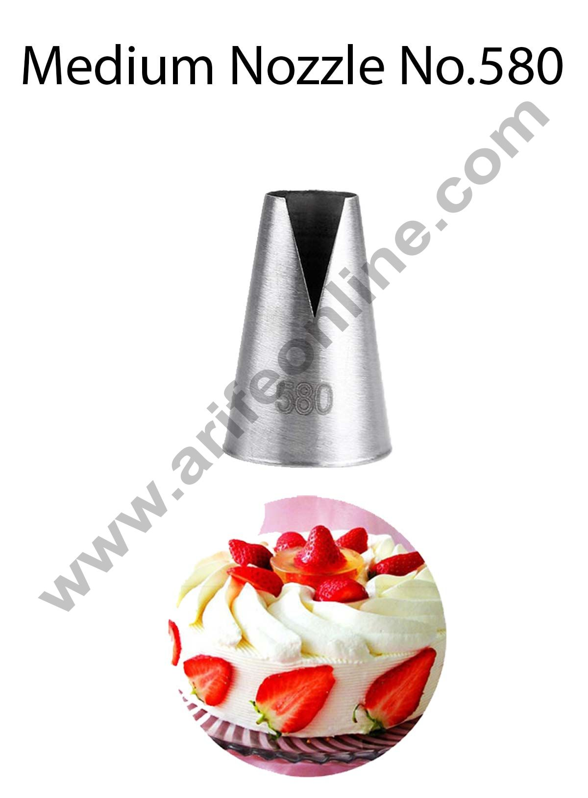 "Cake Decor Medium Nozzle - No. 580 Medium ""V"" Cut/Saint Honore Piping Nozzle"