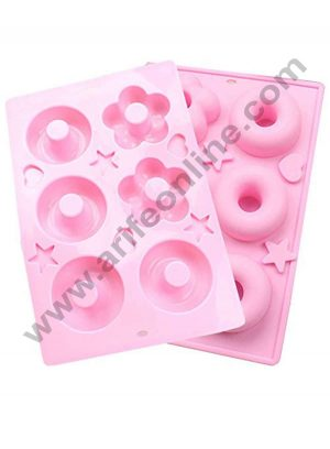 6 cavity silicone Round and Flower Donut mould SBSM-329