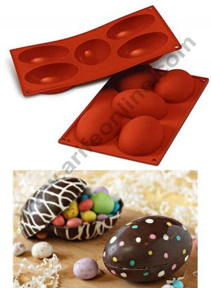 Silicon 5 Cavity Half Easter Egg Shape Muffin Cupcake Mould