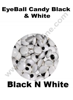 Cake Decor Sugar Candy - Eyeballs Candy Black and White
