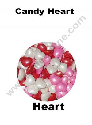 Cake Decor Sugar Candy - Candy Heart Red Pink White