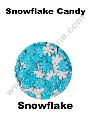 Cake Decor Sugar Candy - Snowflake Blue and White Candy