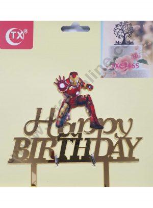 Cake Decor Mirror Acrylic Happy Birthday Cake Topper Iron Man