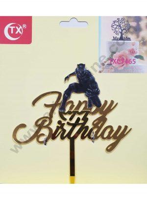 Cake Decor Mirror Acrylic Happy Birthday Cake Topper Black Panther