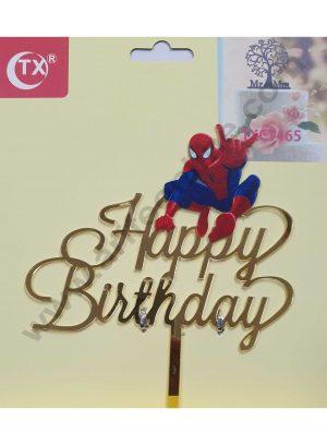 Cake Decor Mirror Acrylic Happy Birthday Cake Topper Spiderman