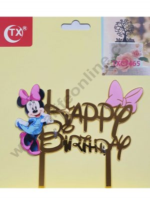 Cake Decor Mirror Acrylic Happy Birthday Cake Topper Minie Mouse