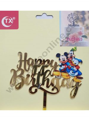 Cake Decor Mirror Acrylic Happy Birthday Cake Topper Mickey and Friends
