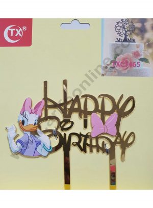 Cake Decor Mirror Acrylic Happy Birthday Cake Topper Daisy Duck
