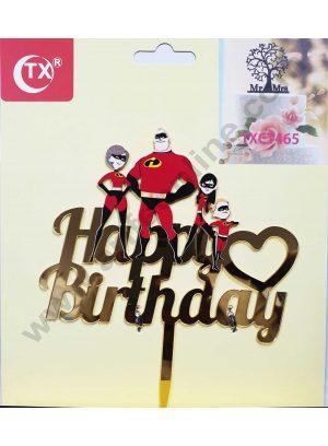 Cake Decor Mirror Acrylic Happy Birthday Cake Topper Incredibles Family