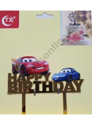 Cake Decor Mirror Acrylic Happy Birthday Cake Topper Cars Toys