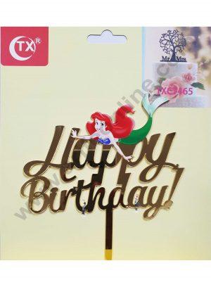 Cake Decor Mirror Acrylic Happy Birthday Cake Topper The Little Mermaid