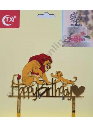 Cake Decor Mirror Acrylic Happy Birthday Cake Topper Simba and Mufasa