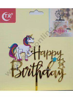 Cake Decor Mirror Acrylic Happy Birthday Cake Topper Unicorn