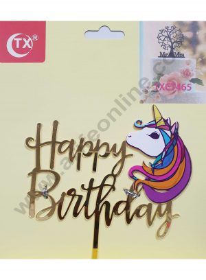 Cake Decor Mirror Acrylic Happy Birthday Cake Topper Unicorn Face