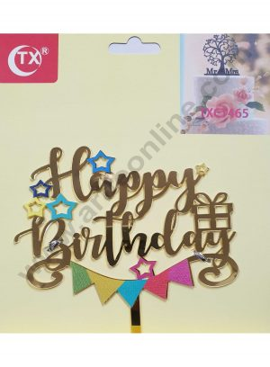 Cake Decor Mirror Acrylic Happy Birthday Cake Topper Party Decorations