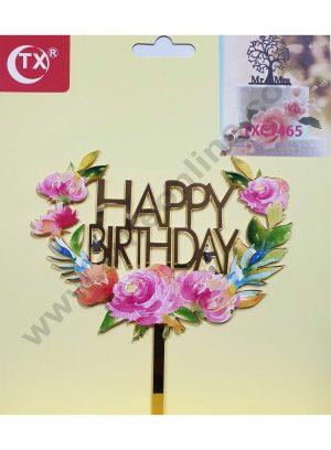 Cake Decor Mirror Acrylic Happy Birthday Cake Topper Floral
