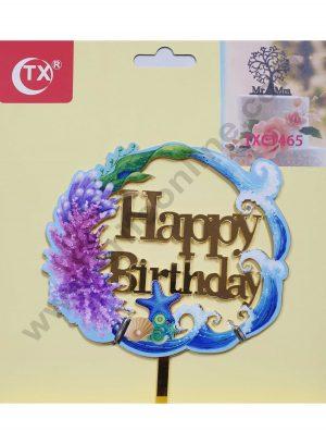 Cake Decor Mirror Acrylic Happy Birthday Cake Topper Sea Theme