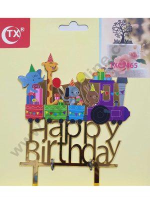 Cake Decor Mirror Acrylic Happy Birthday Cake Topper Cartoon Train Theme