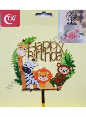 Cake Decor Mirror Acrylic Happy Birthday Cake Topper Jungle Animals Theme