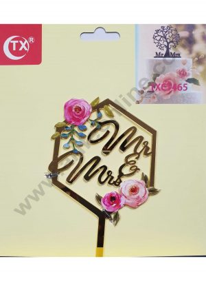 Cake Decor Mirror Acrylic Mr and Mrs Cake Topper Hexagon Floral