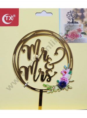 Cake Decor Mirror Acrylic Mr and Mrs Cake Topper Round Floral