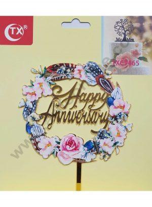 Cake Decor Mirror Acrylic Happy Anniversary Cake Topper Round Floral