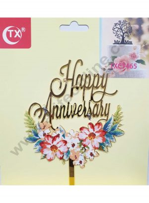 Cake Decor Mirror Acrylic Happy Anniversary Cake Topper FLoral
