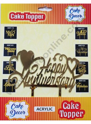 Cake Decor Mirror Finshing Acrylic Cake Topper Happy Anniversary