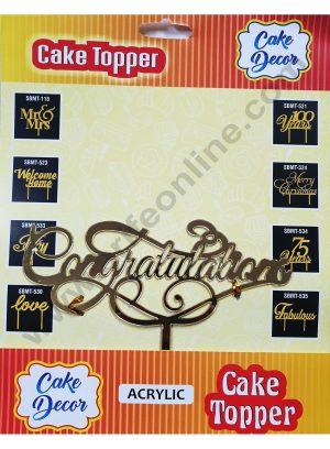 Cake Decor Mirror Finshing Acrylic Cake Topper Congratulations