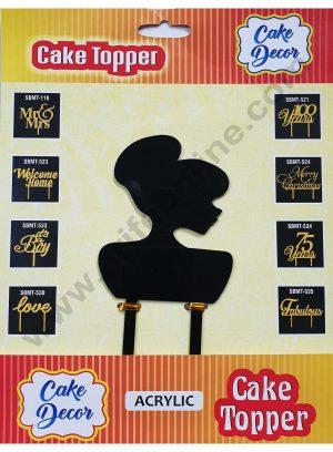 Cake Decor Mirror Finshing Acrylic Cake Topper Black Lady Face
